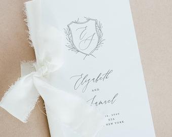 Crest Wedding Program Template, Minimalist Monogram Order of Service, Catholic Ceremony, INSTANT DOWNLOAD, Editable, Templett #0007-142WP