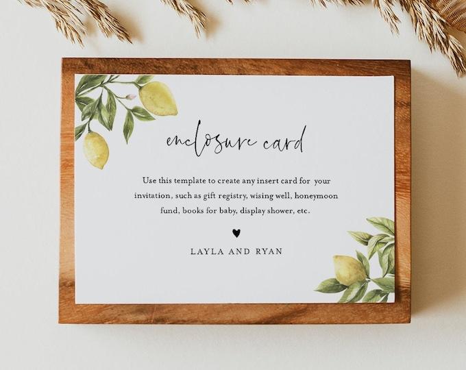 Lemon Insert card, Citrus Enclosure, Bridal Shower, Baby Shower Insert, Editable Details & Info, Instant Download, Templett #089-171EC