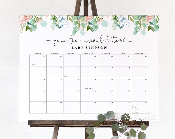 Guess the Birthday Baby Shower Game, Baby Due Date Sign, Baby Calendar, Printable, Editable Template, Instant Download, Templett 068A-104GDD