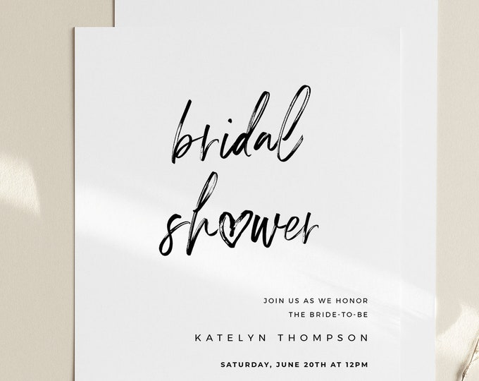Bridal Shower Invitation Template, Minimalist Wedding Shower Invite, Jack and Jill, Rustic Couples Shower, 100% Editable, Templett 090-253BS