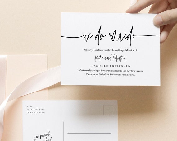 We Do Redo Postcard, Minimalist Postponed Wedding Date Announcement Template, 100% Editable, Instant Download, Templett, 4x6 #0009-125PA