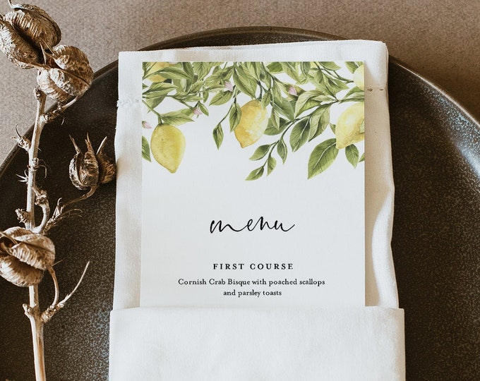 Lemon Menu Template, Summer Wedding Dinner Menu Card, Printable Citrus Menu, 100% Editable Text, Instant Download, Templett, DIY #089-183WM