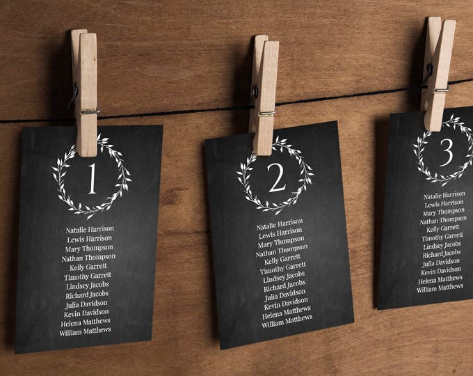 Chalkboard Wedding Seating Chart, Printable Hanging Seating Plan, Table & Seating Cards, Instant Download, 100% Editable Template #010-105SP