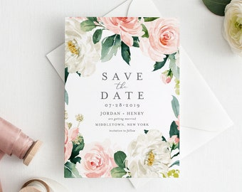 Vintage Floral Save the Date Template, Printable Wedding Date Card, Instant Download, 100% Editable, Templett, Watercolor, DIY #043-124SD