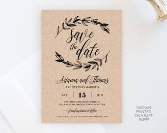 Wedding Save the Date Template, Printable Rustic Kraft Save the Date Card, Instant Download, DIY, 100% Editable Template, Digital #023-105SD