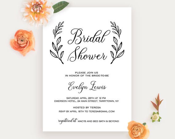 Bridal Shower Invitation Printable, Wedding Shower Invite Template, Rustic Bride, Instant Download, Fully Editable, Digital #027-123BS