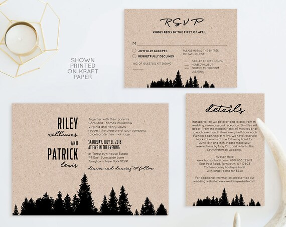 Printable Wedding Invitation Set, 100% Editable Template, Woodland Pine, Rustic Wedding, Invite, RSVP & Details, Instant Download, DIY #017