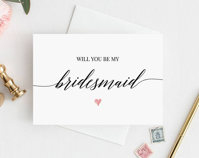 Will You Be My Bridesmaid Printable Card, Ask to be Bridesmaid, Maid of Honor, Flower Girl, 100% Editable, Instant Download, DIY #034-101BMB