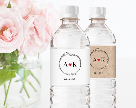 Printable Wedding Water Bottle Template, DIY Rustic Wedding Label, Personalized Label, Instant Download, Fully Editable, Digital #022-104BL