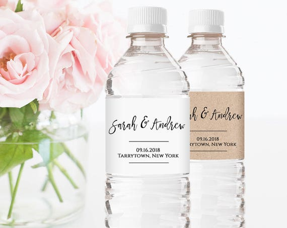 Wedding Water Bottle Label Template, Printable, DIY Wedding Label, Personalized Water Bottle, Instant Download, Editable, Digital #018-103BL