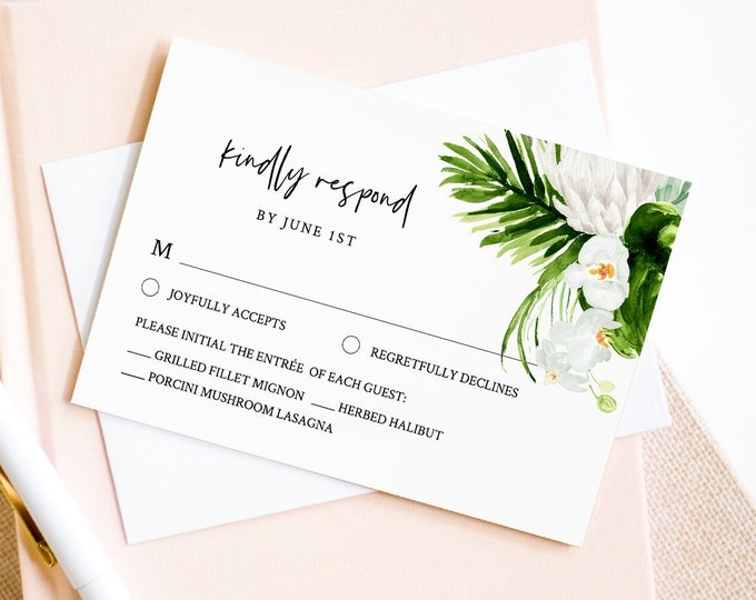 RSVP Card, Tropical Wedding Response Card Template, Printable Reply Card, Tropical Greenery, 100% Editable Text, Instant Download #079-RSVP