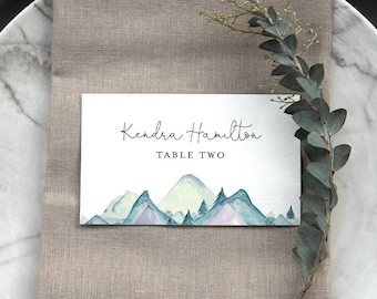 Mountain Place Card Template, Printable Rustic Pine Wedding Escort Card with Meal Option, INSTANT DOWNLOAD, Editable, Templett #063-140PC