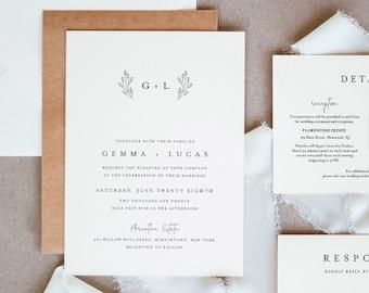 Minimalist Wedding Suite, Simple, Elegant, Clean Wedding Invitation, RSVP, Detail, Editable Template, Instant Download, Templett #095B