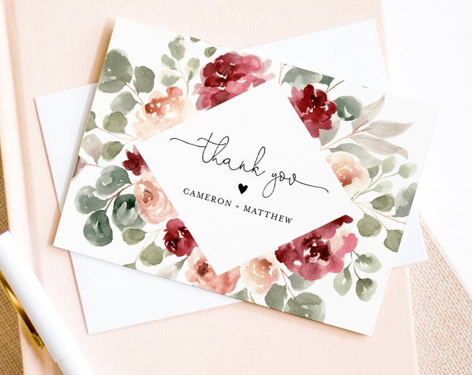 Thank You Note Card Template, Printable Watercolor Boho Floral Wedding / Bridal Shower Folded Card, INSTANT DOWNLOAD, Editable #065-135TYC