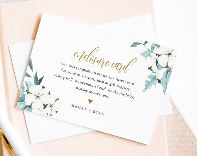 Winter Enclosure Card Template, Create Any Insert Card for Wedding, Bridal or Baby Shower, Book Request, Details, Editable Text #091-148EC