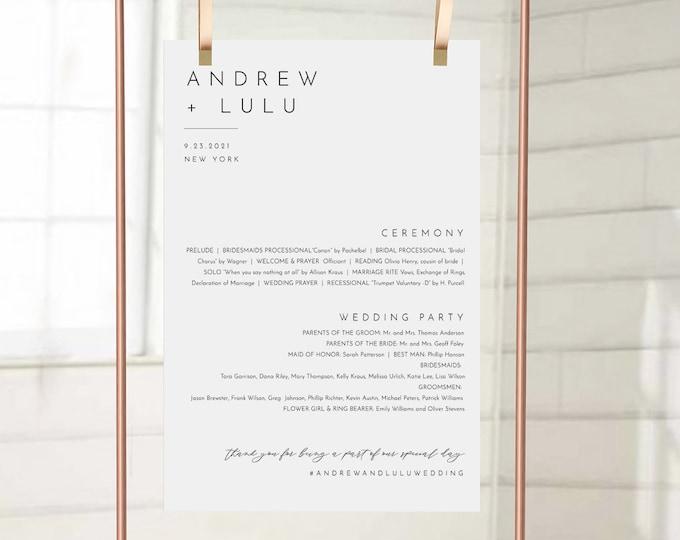 Minimalist Wedding Program Sign, Printable Modern Order of Service Poster, Editable Template, Instant Download, Templett #094-230LS