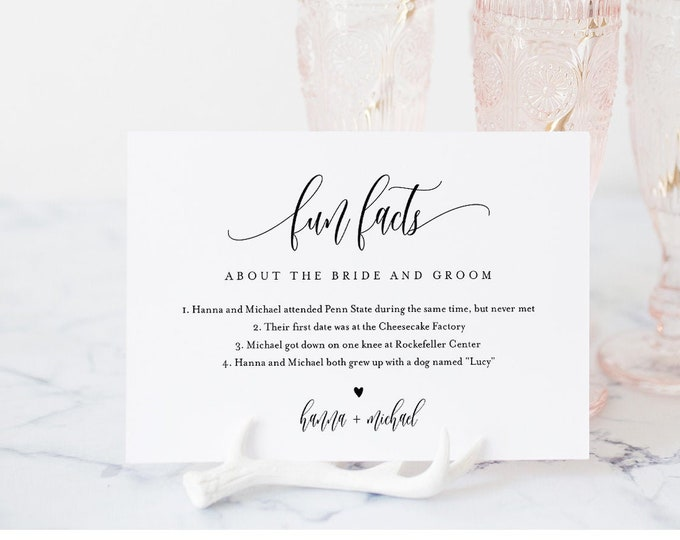 Fun Facts About the Bride and Groom Card, Minimalist Wedding Sign, 100% Editable Template, Printable, Instant Download, Templett  #008-34S