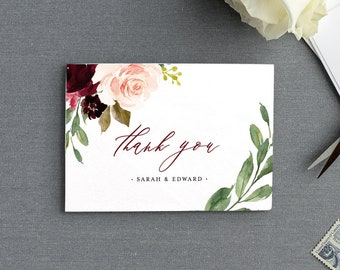 Printable Thank You Card Template, Merlot & Blush Boho Floral, Folded Wedding Card, INSTANT DOWNLOAD, Editable Text, Templett #062-112TYC