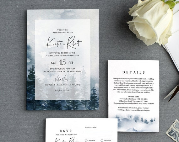 Pine Tree Wedding Invitation Suite Template, Rustic Woodland Winter Reception, Watercolor, 100% Editable Text, INSTANT DOWNLOAD #073C