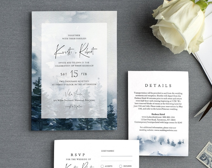 Pine Tree Wedding Invitation Suite Template, Rustic Woodland Winter Reception, Watercolor, 100% Editable Text, INSTANT DOWNLOAD #070A