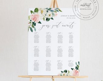 Floral Seating Chart Template, Printable Wedding Seating Sign, Instant Download, 100% Editable, Boho Wedding, US & UK Poster Size #043-222SC