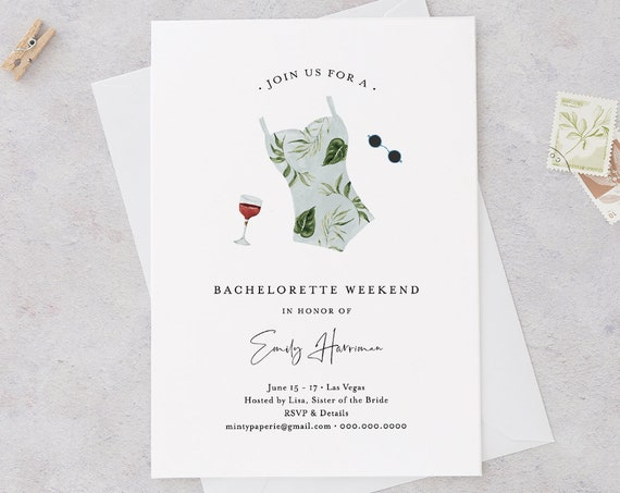 Bachelorette Invitation & Itinerary Template, INSTANT DOWNLOAD, 100% Editable Text, Beach, Spa, Resort, Lake Bachelorette Weekend 017A-120BP