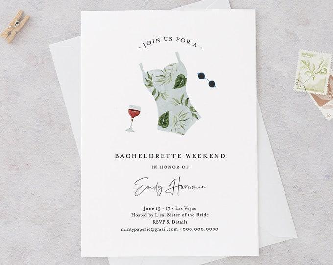 Bachelorette Invitation & Itinerary Template, INSTANT DOWNLOAD, 100% Editable Text, Beach, Spa, Resort, Lake Bachelorette Weekend 017A-120BP