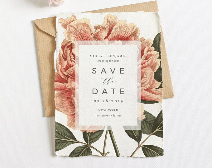 Save the Date Template, Instant Download, 100% Editable Text, Printable, Vintage Peach Floral Greenery, Templett, DIY, 4x6 & 5x7 #047B-126SD