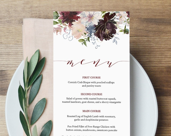 Floral Menu Template, Wedding Dinner Menu Printable, INSTANT DOWNLOAD, 100% Editable File, Burgundy and Gold, Boho, TEMPLETT #040-119WM