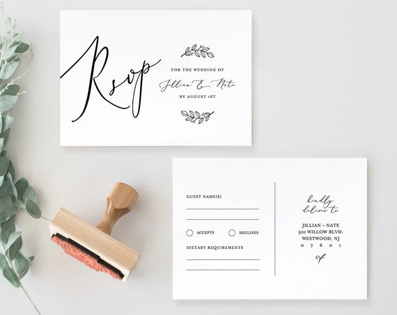 RSVP Card Template, Instant Download, 100% Editable, DIY Wedding Postcard, Response Card, Minimalist, Rustic, Modern, Templett #NC-116EC