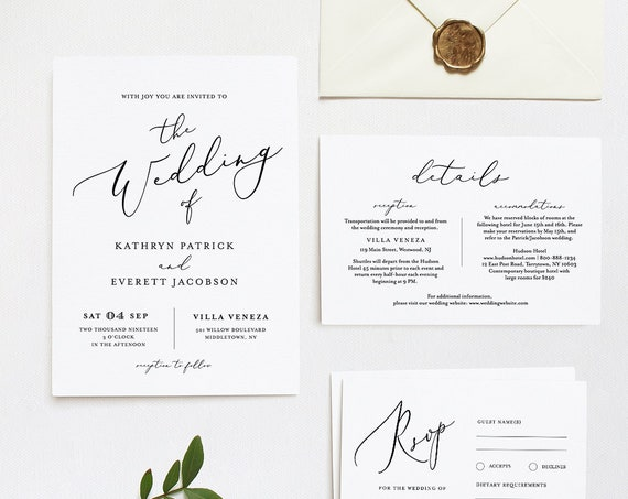Wedding Invitation Template, INSTANT DOWNLOAD, 100% Editable Template, Minimalist Invite, RSVP & Detail, Printable, Calligraphy, DiY #045B