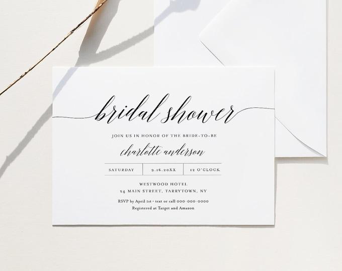 Bridal Shower Invitation Template, Instant Download, Printable Minimalist Wedding Shower Invite, 100% Editable, Templett #034-202BS