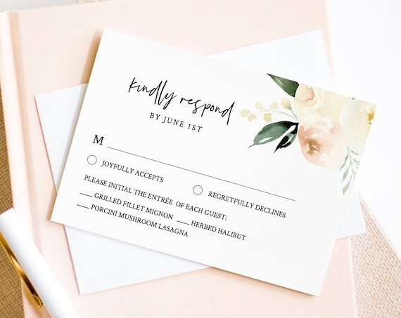 RSVP Card Template, INSTANT DOWNLOAD, 100% Editable Text, Printable Peach Floral Wedding Response Postcard, DiY, Self-Editing #076-rsvp