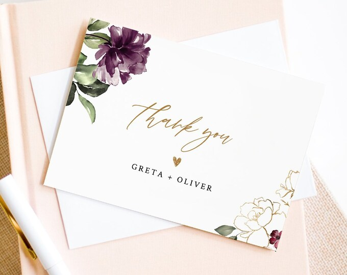 Printable Thank You Card Template, Purple Floral Wedding / Bridal Shower Folded Note Card, INSTANT DOWNLOAD, Editable Text, DIY #006-122TYC