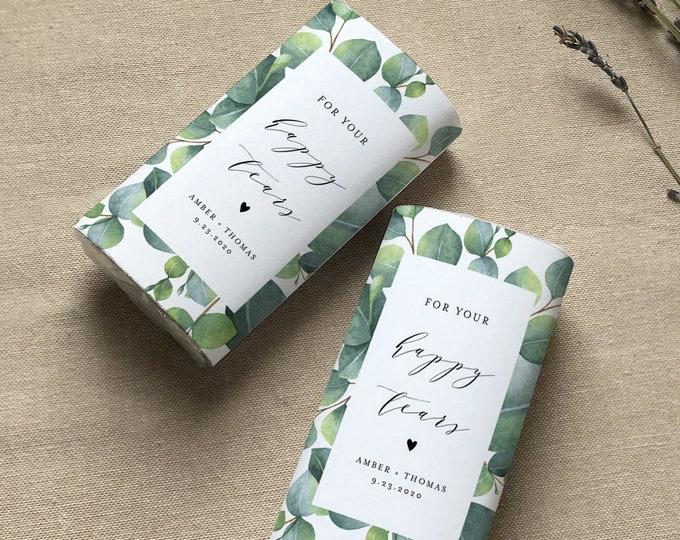 Happy Tears Pocket Tissue Wraparound, Editable Eucalyptus Wedding Tissue Favor Template, Printable, Instant Download, Templett #036-102PT