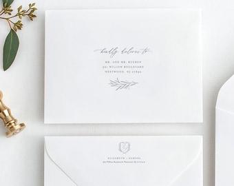 Minimalist Envelope Template, Wedding Crest Monogram Envelope, Editable Address Printable, Instant Download, Templett, A1 & A7 #0007-143EN