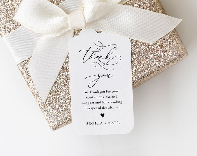 Calligraphy Wedding Favor Tag Template, Thank You Tag, Bridal Shower Tag, Welcome Bag, INSTANT DOWNLOAD, Editable Text, Templett #092-153FT