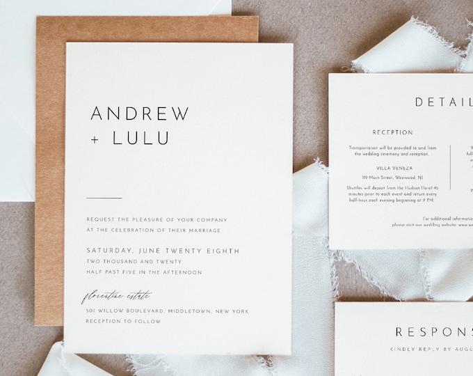 Minimalist Wedding Invitation Set, Simple, Modern, Basic Wedding Invite, RSVP, Detail, Editable Template, Instant Download, Templett #094B