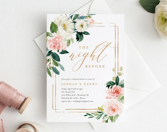Rehearsal Dinner Template, Wedding Rehearsal Invite, INSTANT DOWNLOAD, Printable, 100% Editable, Blush, Cream & Gold Floral, DIY  #043-125RD