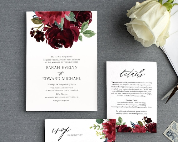 Boho Wedding Invitation Suite, Editable Template, Burgundy and Blush Floral & Greenery, Invite, RSVP and Detail, INSTANT DOWNLOAD #062C