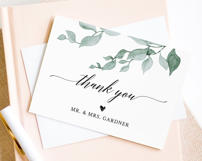 Greenery Thank You Note Card Template, Folded Wedding or Bridal Shower Thank You Card, 100% Editable Text, INSTANT DOWNLOAD, DIY #019-117TYC