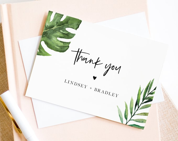 Tropical Thank You Note Card Template, Printable Wedding / Bridal Shower Folded Card, Palm Leaves, INSTANT DOWNLOAD, Editable #083-133TYC
