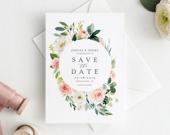Self-Editing Save the Date Template, Printable Floral Wedding Date Card, Instant Download, 100% Editable, Templett, Greenery, DIY #043-121SD