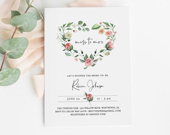 Valentine Bridal Shower Invitation Template, INSTANT DOWNLOAD, Printable Heart Wreath Wedding Shower Invite, 100% Editable Text 058-157BS