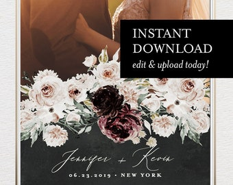 Boho SnapChat Geofilter Template, INSTANT DOWNLOAD, 100% Editable Text, Moody Burgundy Florals, Custom Wedding Filter, Templett #074-121GF