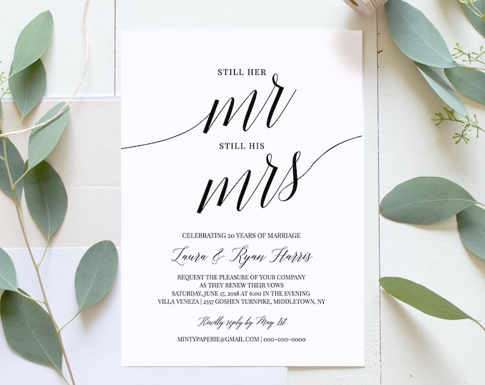 Vow Renewal Invitation Template, INSTANT DOWNLOAD, Wedding Anniversary, Renew Vows, Mr and Mrs, 100% Editable Template, Digital #034-108VR