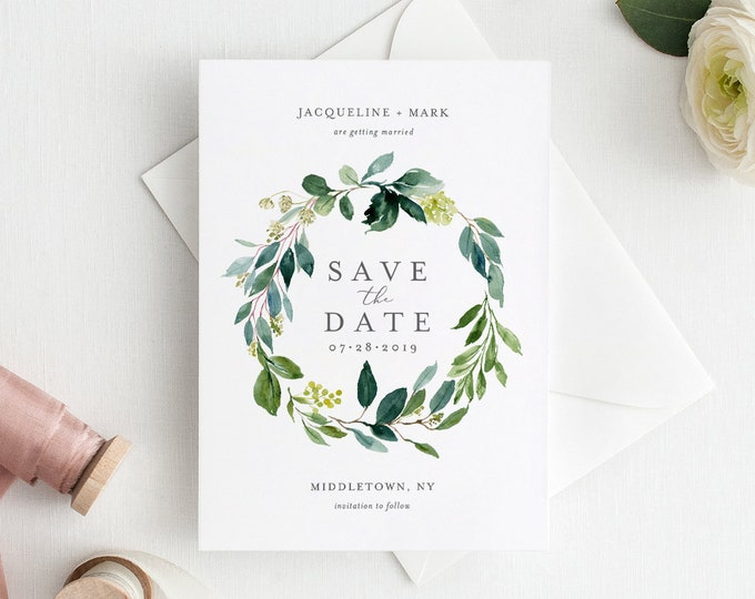 Save the Date Template, Greenery Wreath, INSTANT DOWNLOAD, Printable Boho Wedding Date Card, 100% Editable + Add Your Photo, DIY #044-123SD