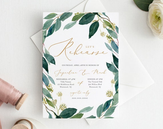Rehearsal Dinner Invitation Template, INSTANT DOWNLOAD, Watercolor Greenery Wreath, Boho Wedding, 100% Editable, DIY, Printable #044-126RD