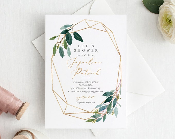 Bridal Shower Invitation, Instant Download, Greenery Foliage Wedding Shower, Couples Shower, 100% Editable Template, DIY Digital  #044-131BS