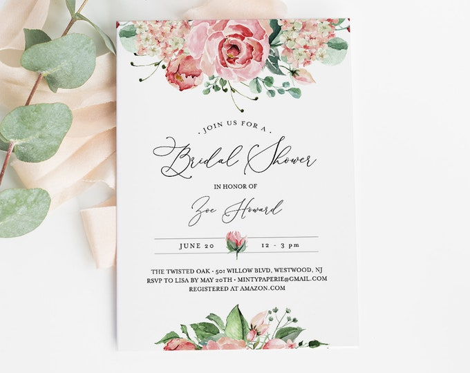 Self-Editing Bridal Shower Invitation Template, INSTANT DOWNLOAD, Printable Vintage Watercolor Floral Invite, 100% Editable Text #058-159BS